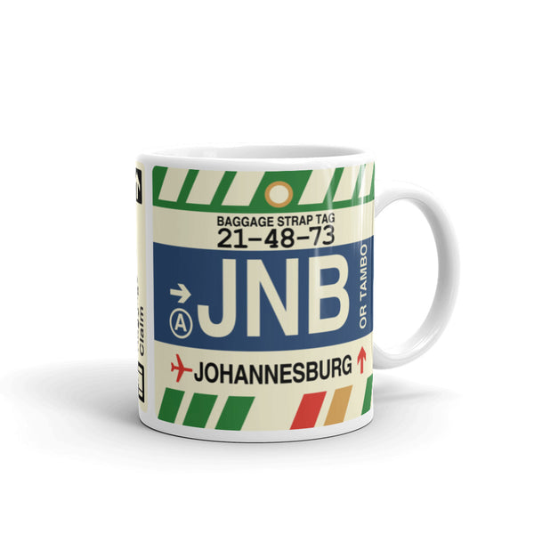 YHM Designs - JNB Johannesburg Airport Code Coffee Mug - Graduation Gift, Housewarming Gift - Right