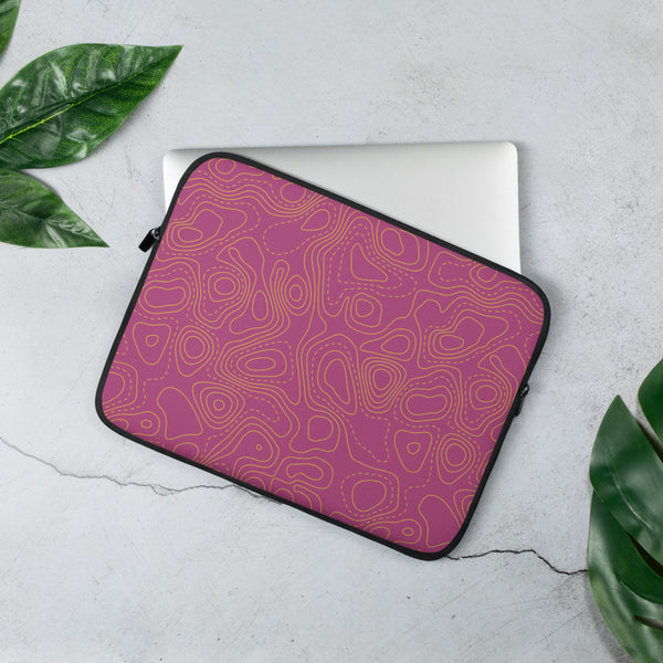 YHM Designs - Contour Map Laptop Sleeve • Fuchsia 2