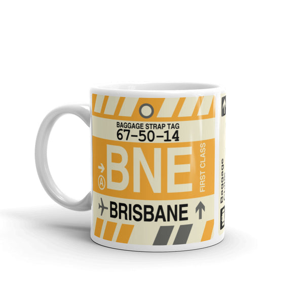 YHM Designs - BNE Brisbane, Australia Airport Code Coffee Mug - Birthday Gift, Christmas Gift - Left