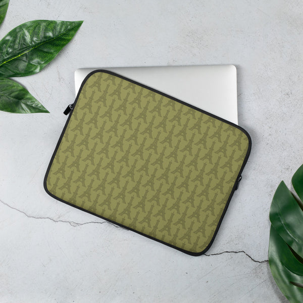 YHM Designs - Eiffel Tower Laptop Sleeve • Light Moss Green 2