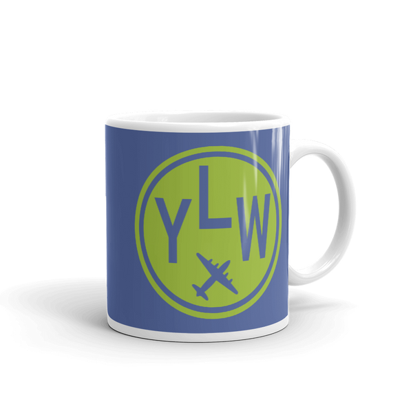 YHM Designs - YLW Kelowna Airport Code Vintage Roundel Coffee Mug - Graduation Gift, Housewarming Gift - Green and Blue - Right