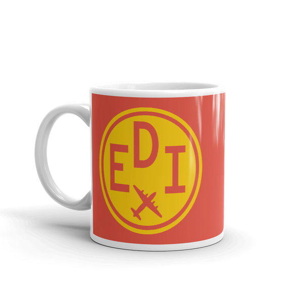 YHM Designs - EDI Edinburgh Airport Code Vintage Roundel Coffee Mug - Birthday Gift, Christmas Gift - Yellow and Red - Left