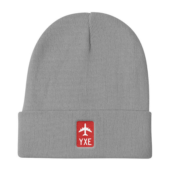 YHM Designs - YXE Saskatoon Retro Jetliner Airport Code Winter Hat - Grey - Student Gift