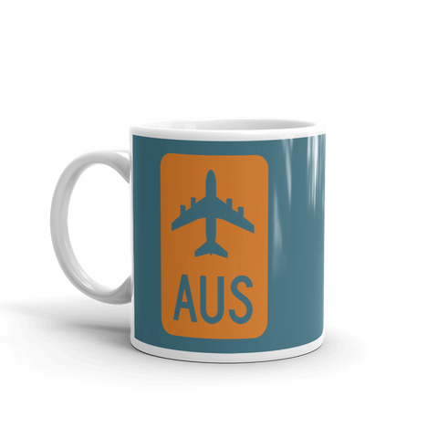 YHM Designs - AUS Austin Airport Code Jetliner Coffee Mug - Birthday Gift, Christmas Gift - Orange and Teal - Left