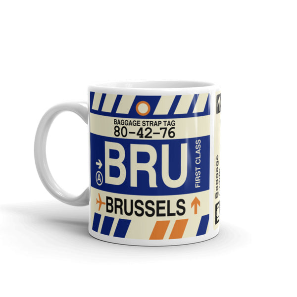 YHM Designs - BRU Brussels Airport Code Coffee Mug - Birthday Gift, Christmas Gift - Left