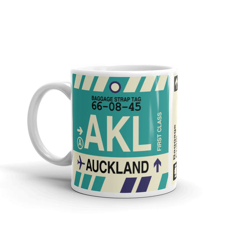 YHM Designs - AKL Auckland, New Zealand Airport Code Coffee Mug - Birthday Gift, Christmas Gift - Left