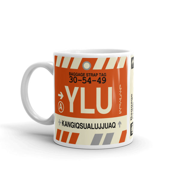 YHM Designs - YLU Kangiqsualujjuaq, Quebec Airport Code Coffee Mug - Birthday Gift, Christmas Gift - Left