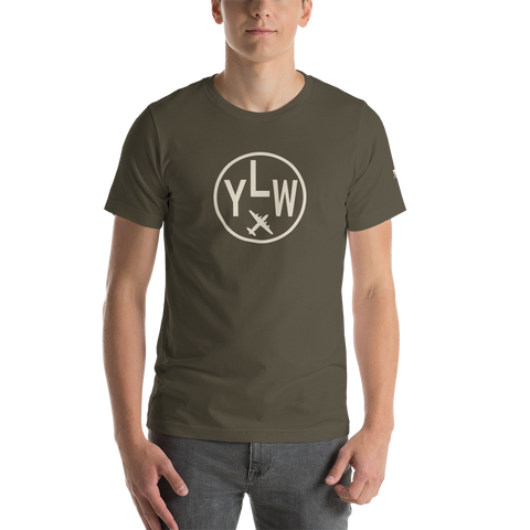 YHM Designs - YLW Kelowna Airport Code T-Shirt - Adult - Army Brown - Birthday Gift