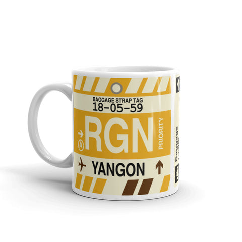 YHM Designs - RGN Yangon, Myanmar (Burma) Airport Code Coffee Mug - Birthday Gift, Christmas Gift - Left