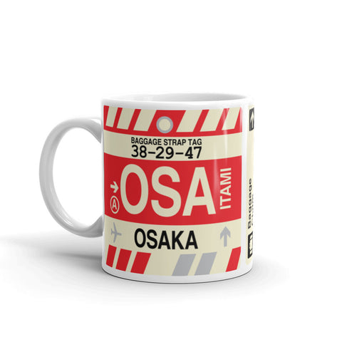 YHM Designs - OSA Osaka, Japan Airport Code Coffee Mug - Birthday Gift, Christmas Gift - Left