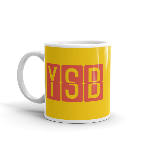 YHM Designs - YSB Sudbury, Ontario Airport Code Coffee Mug - Birthday Gift, Christmas Gift - Red and Yellow - Left