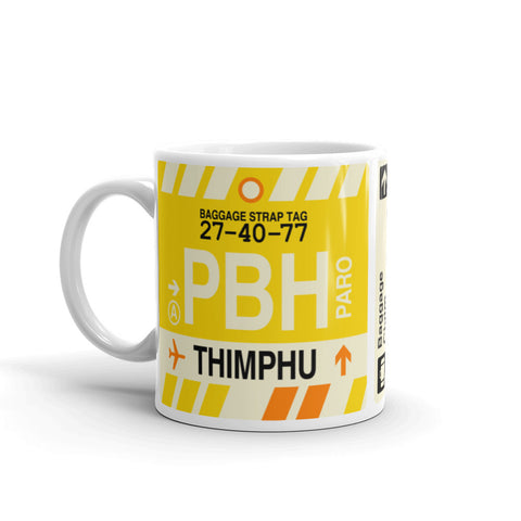 YHM Designs - PBH Thimphu, Bhutan Airport Code Coffee Mug - Birthday Gift, Christmas Gift - Left