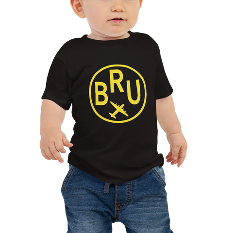 YHM Designs - BRU Brussels Airport Code T-Shirt - Baby Infant - Boy's or Girl's Gift