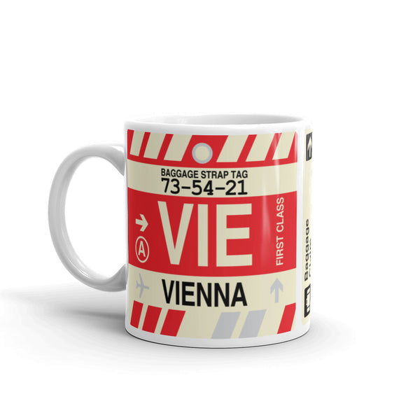 YHM Designs - VIE Vienna Airport Code Coffee Mug - Travel Theme Drinkware and Gift Ideas - Left