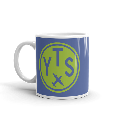 YHM Designs - YTS Timmins Airport Code Vintage Roundel Coffee Mug - Birthday Gift, Christmas Gift - Green and Blue - Left