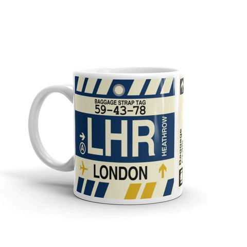 YHM Designs - LHR London, England (UK) Airport Code Coffee Mug - Birthday Gift, Christmas Gift - Left
