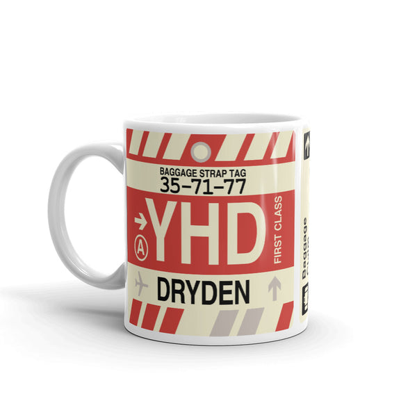 YHM Designs - YHD Dryden Airport Code Coffee Mug - Birthday Gift, Christmas Gift - Left
