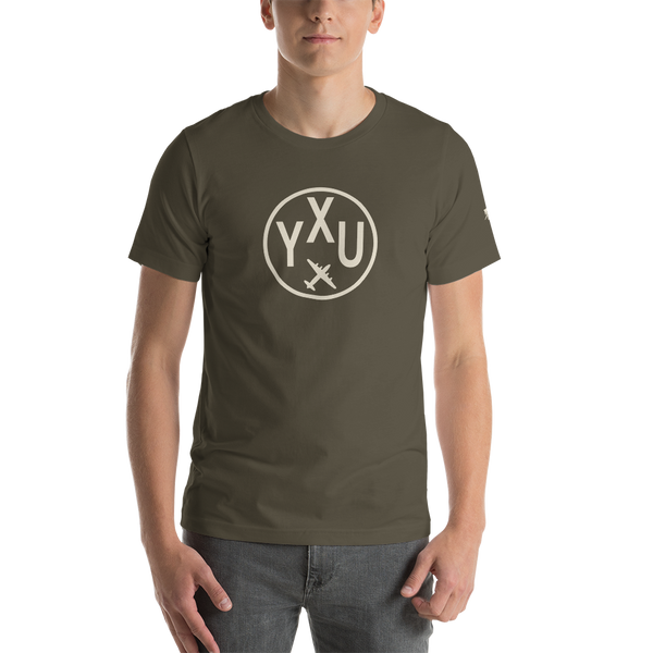 YHM Designs - YXU London Airport Code T-Shirt - Adult - Army Brown - Birthday Gift