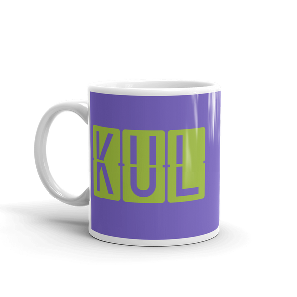 YHM Designs - KUL Kuala Lumpur Airport Code Split-Flap Display Coffee Mug - Birthday Gift, Christmas Gift - Green and Purple - Left
