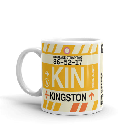 YHM Designs - KIN Kingston, Jamaica Airport Code Coffee Mug - Birthday Gift, Christmas Gift - Left