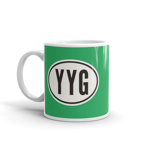 YHM Designs - YYG Charlottetown Airport Code Coffee Mug with Oval Car Sticker Design - Handle on Left