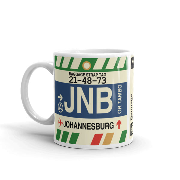 YHM Designs - JNB Johannesburg Airport Code Coffee Mug - Birthday Gift, Christmas Gift - Left