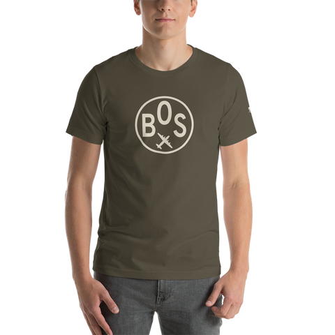 YHM Designs - BOS Boston Airport Code T-Shirt - Adult - Army Brown - Birthday Gift