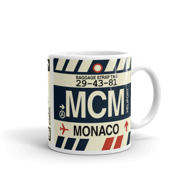 YHM Designs - MCM Monte Carlo Airport Code Coffee Mug - Graduation Gift, Housewarming Gift - Right