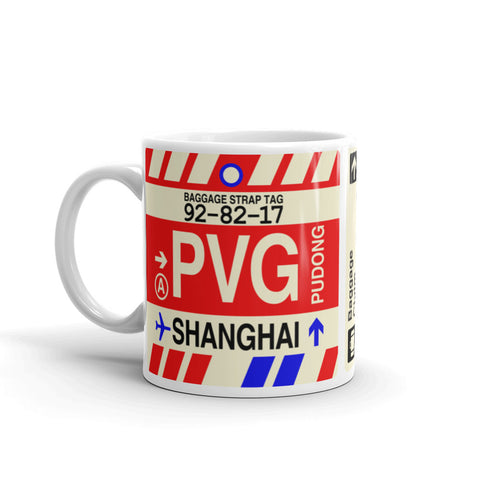 YHM Designs - PVG Shanghai, China Airport Code Coffee Mug - Birthday Gift, Christmas Gift - Left