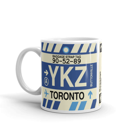 YHM Designs - YKZ Toronto Airport Code Coffee Mug - Birthday Gift, Christmas Gift - Left