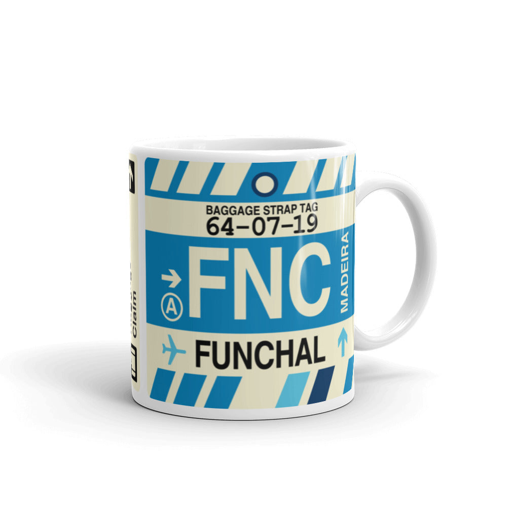 YHM Designs - FNC Funchal Airport Code Coffee Mug - Graduation Gift, Housewarming Gift - Right
