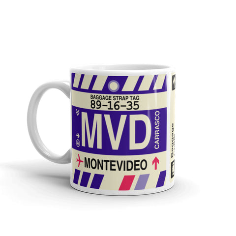 YHM Designs - MVD Montevideo, Uruguay Airport Code Coffee Mug - Birthday Gift, Christmas Gift - Left