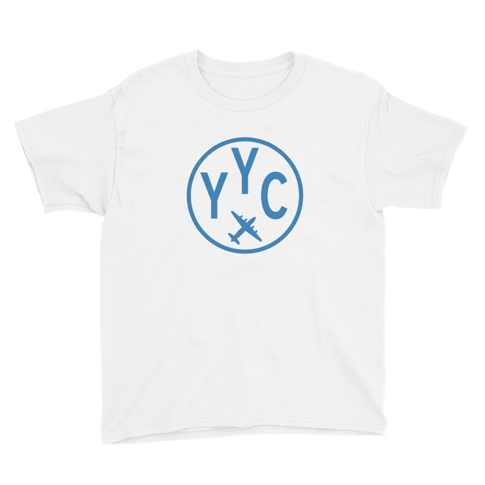YHM Designs - YYC Calgary T-Shirt - Airport Code and Vintage Roundel Design - Child Youth - Navy Blue - Gift for Child or Children