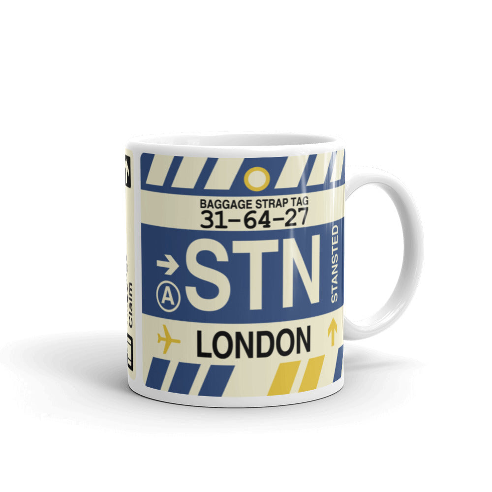 YHM Designs - STN London, England (UK) Airport Code Coffee Mug - Graduation Gift, Housewarming Gift - Right