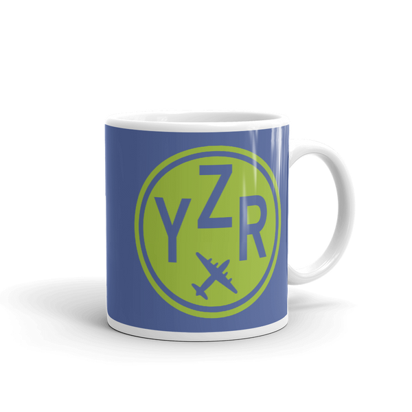 YHM Designs - YZR Sarnia Airport Code Vintage Roundel Coffee Mug - Graduation Gift, Housewarming Gift - Green and Blue - Right