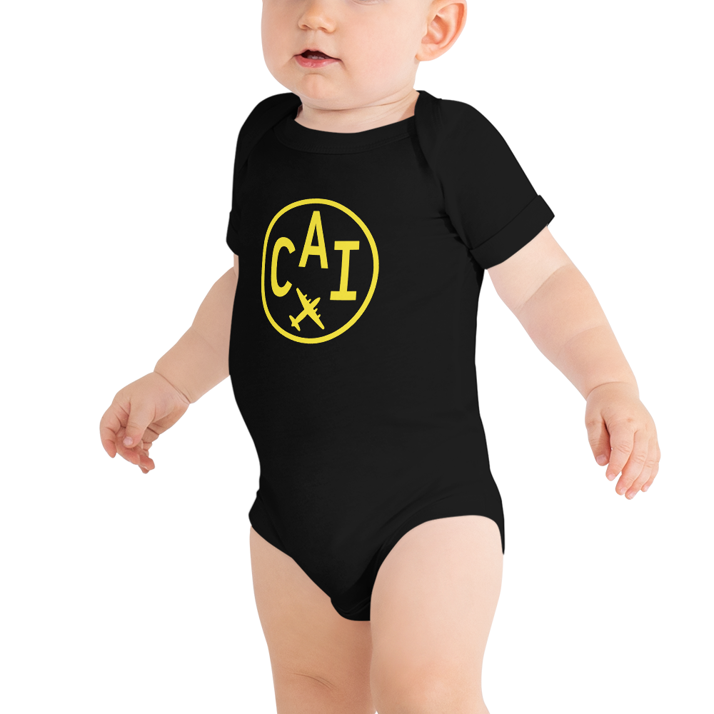 YHM Designs - CAI Cairo Airport Code Onesie Bodysuit - Baby Infant - Boy's or Girl's Gift