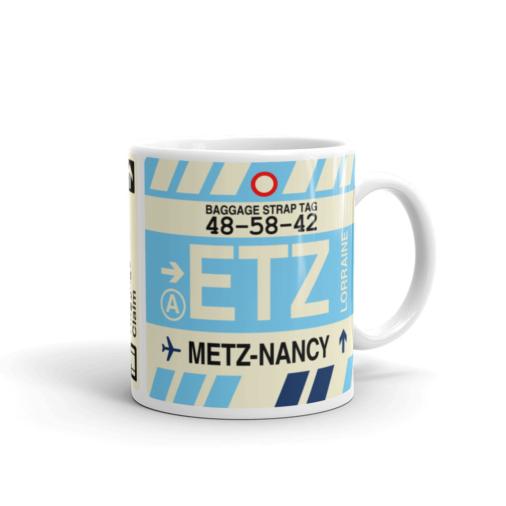 YHM Designs - ETZ Metz-Nancy-Lorraine Airport Code Coffee Mug - Travel Theme Drinkware and Gift Ideas - Right