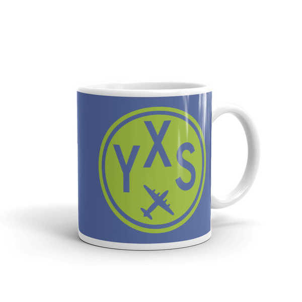 YHM Designs - YXS Prince George Airport Code Vintage Roundel Coffee Mug - Graduation Gift, Housewarming Gift - Green and Blue - Right
