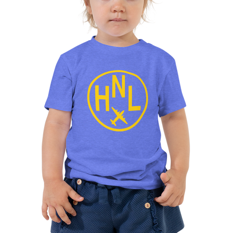 YHM Designs - HNL Honolulu Airport Code T-Shirt - Toddler Child - Boy's or Girl's Gift