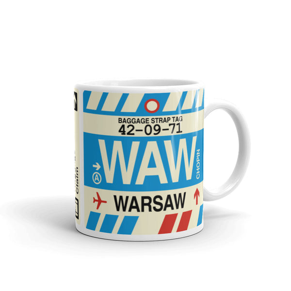 YHM Designs - WAW Warsaw Airport Code Coffee Mug - Graduation Gift, Housewarming Gift - Right
