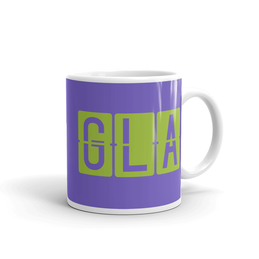 YHM Designs - GLA Glasgow Airport Code Split-Flap Display Coffee Mug - Graduation Gift, Housewarming Gift - Green and Purple - Right