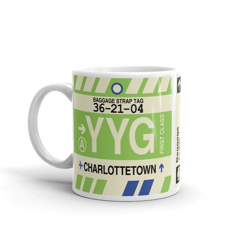 YHM Designs - YYG Charlottetown Airport Code Coffee Mug - Birthday Gift, Christmas Gift - Left