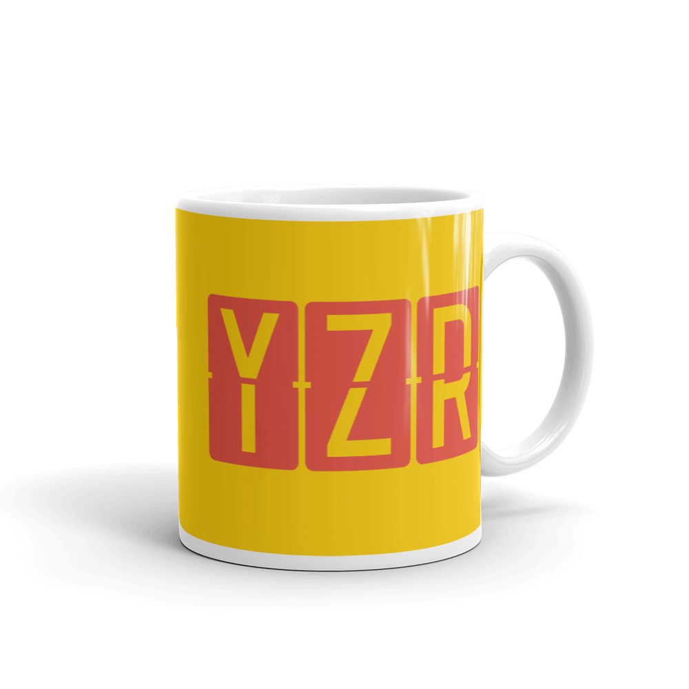 YHM Designs - YZR Sarnia, Ontario Airport Code Coffee Mug - Graduation Gift, Housewarming Gift - Red and Yellow - Right