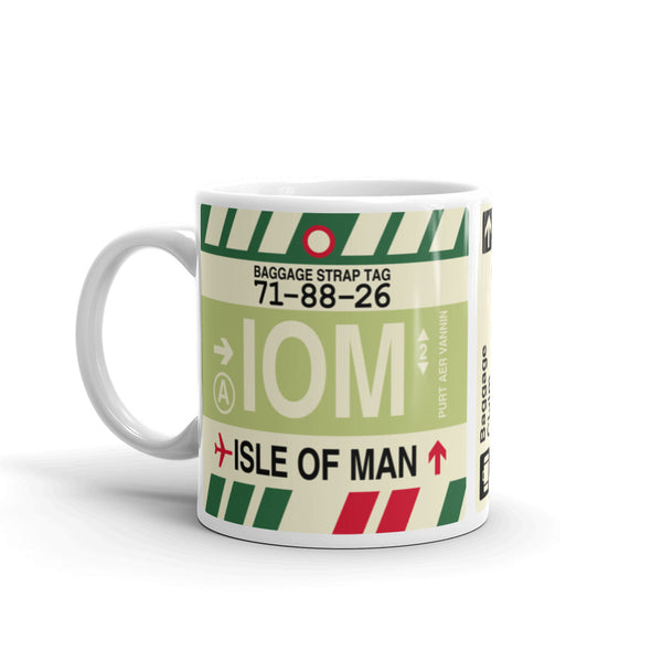 YHM Designs - IOM Isle of Man Airport Code Coffee Mug - Birthday Gift, Christmas Gift - Left