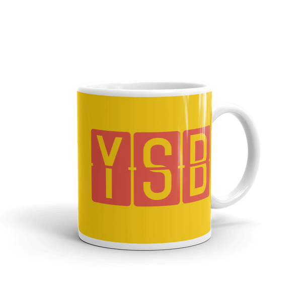YHM Designs - YSB Sudbury, Ontario Airport Code Coffee Mug - Graduation Gift, Housewarming Gift - Red and Yellow - Right