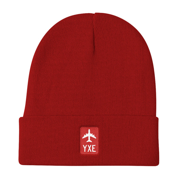 YHM Designs - YXE Saskatoon Retro Jetliner Airport Code Winter Hat - Red - Local Gift