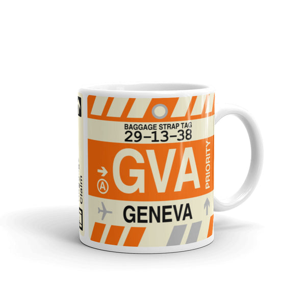 YHM Designs - GVA Geneva Airport Code Coffee Mug - Graduation Gift, Housewarming Gift - Right