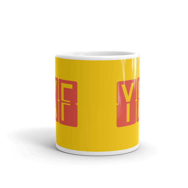 YHM Designs - YKF Waterloo, Ontario Airport Code Coffee Mug - Teacher Gift, Airbnb Decor - Red and Yellow - Side