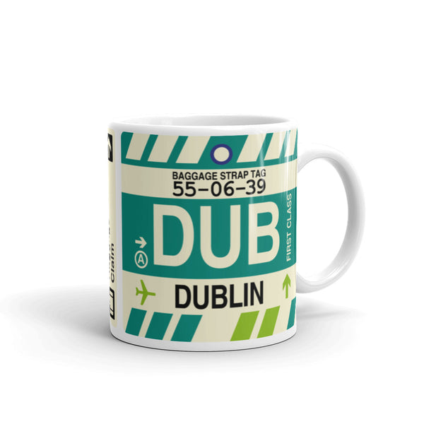 YHM Designs - DUB Dublin, Ireland Airport Code Coffee Mug - Graduation Gift, Housewarming Gift - Right