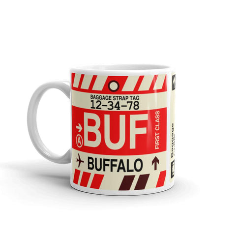 YHM Designs - BUF Buffalo Airport Code Coffee Mug - Birthday Gift, Christmas Gift - Left
